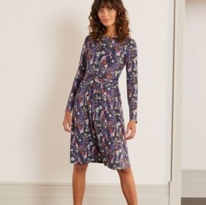 BODEN ABIGAIL gray floral knit long sleeve dress